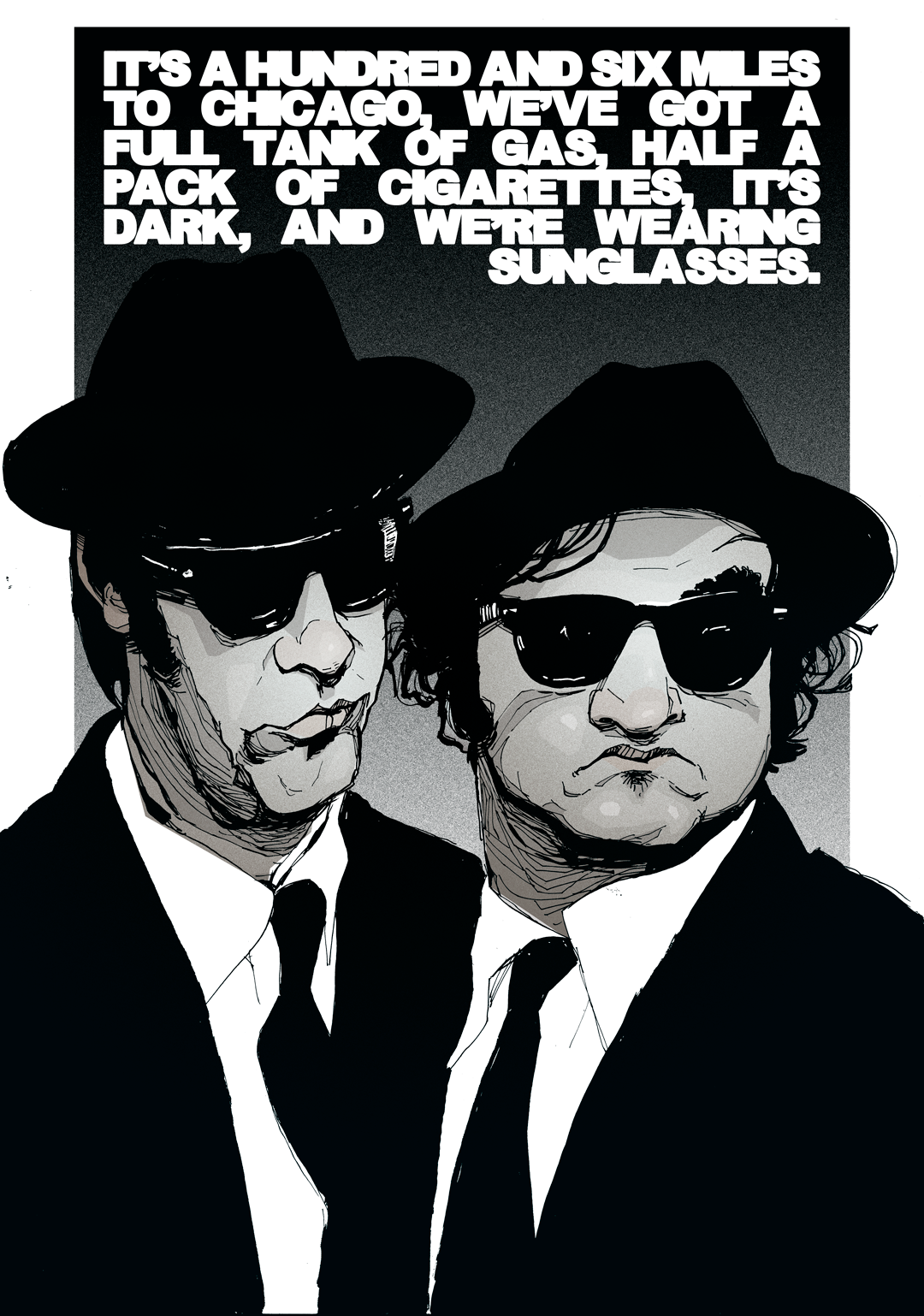 Jake and Elwood Blues Brothers illustration