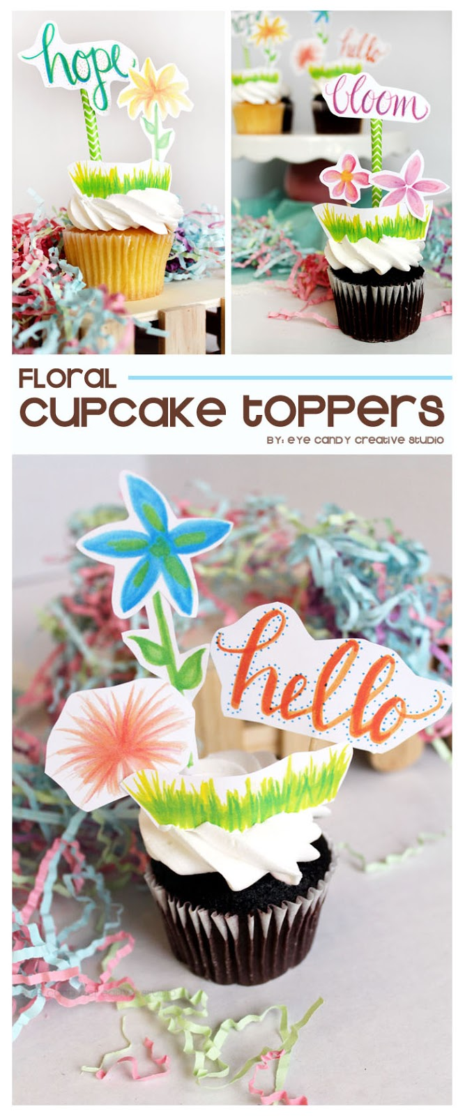 floral cupcake toppers, hope, bloom, hand lettering, handmade toppers