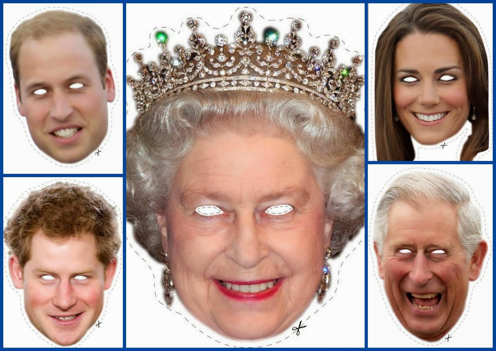 Máscara de la Familia Real Inglesa para Imprimir Gratis.