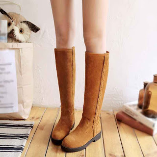 women's lady knee high boots winter warmer snow boot low heels shoes fur lining