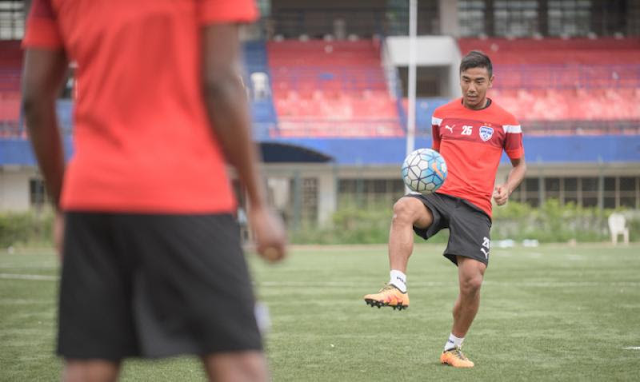 Bengaluru FC striker Daniel Lalhlimpuia in training at the Bangalore Football Stadium, in Bengaluru, on Tuesday.