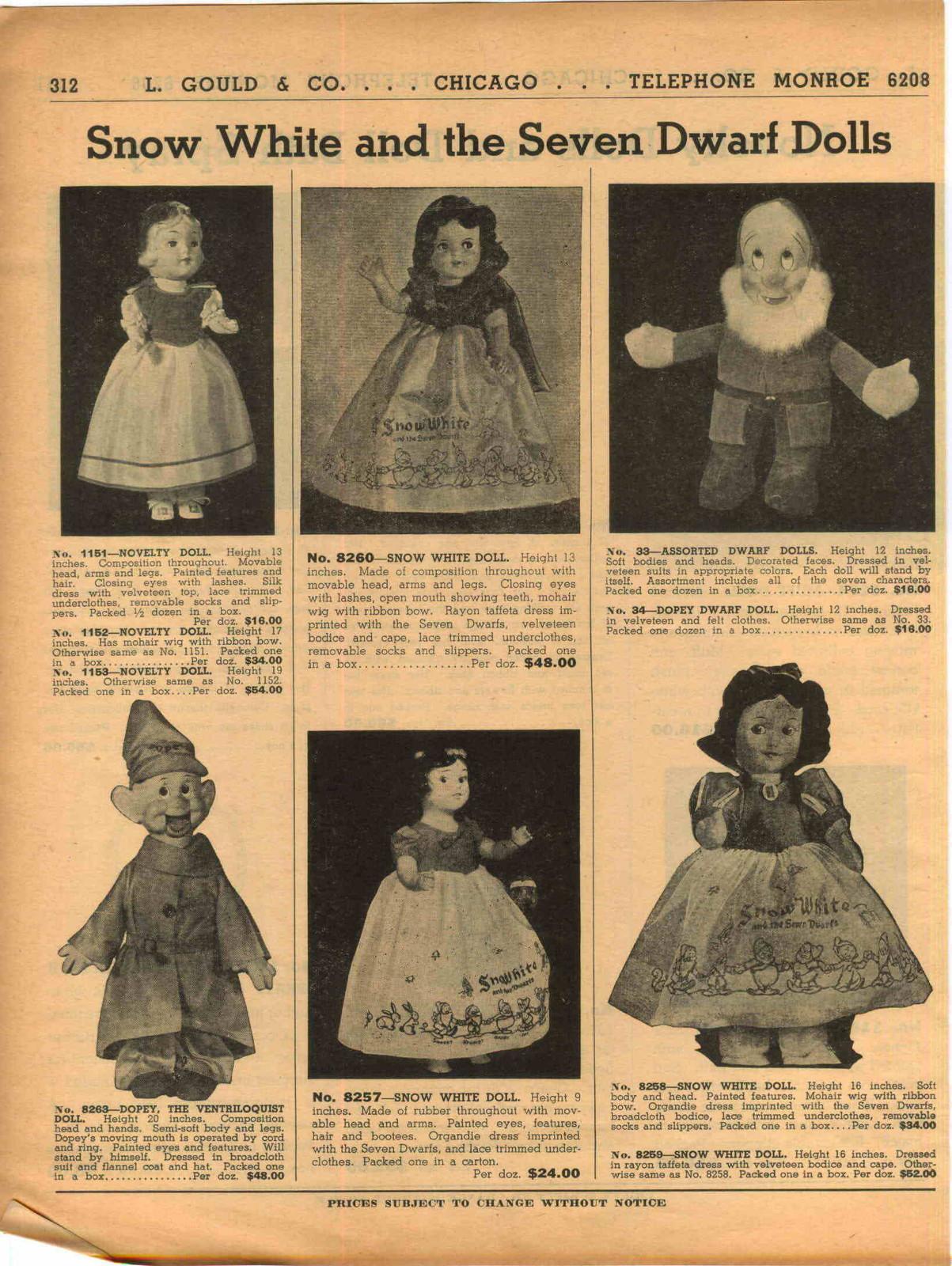 Filmic Light - Snow White Archive: Vintage Catalog Listings