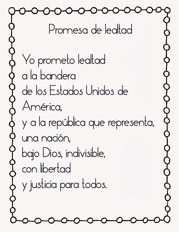 Eloquent image regarding pledge of allegiance in spanish printable