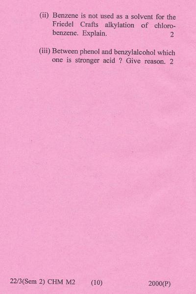 Gauhati University B Sc Chemistry Paper 2 2 Major 2015