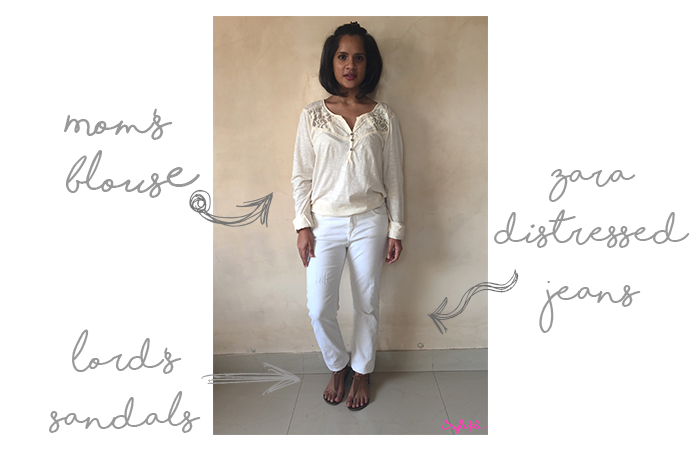 Dayle Pereira the blogger of Style File wore a cream lace blouse, white distressed jeans and thong sandals to the office