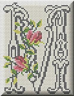 Alfabeto Monograma Com Rosas e Arabescos Em Ponto Cruz 36