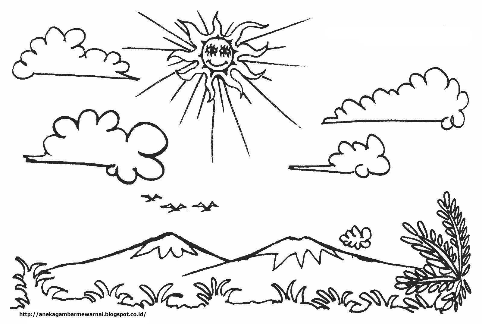 Gambar Mewarnai Anak Ayam Pinterest Bunga Pemandangan Langit Cerah Paud