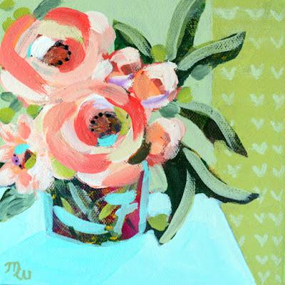 Original floral painting by artist Merrill Weber framed
