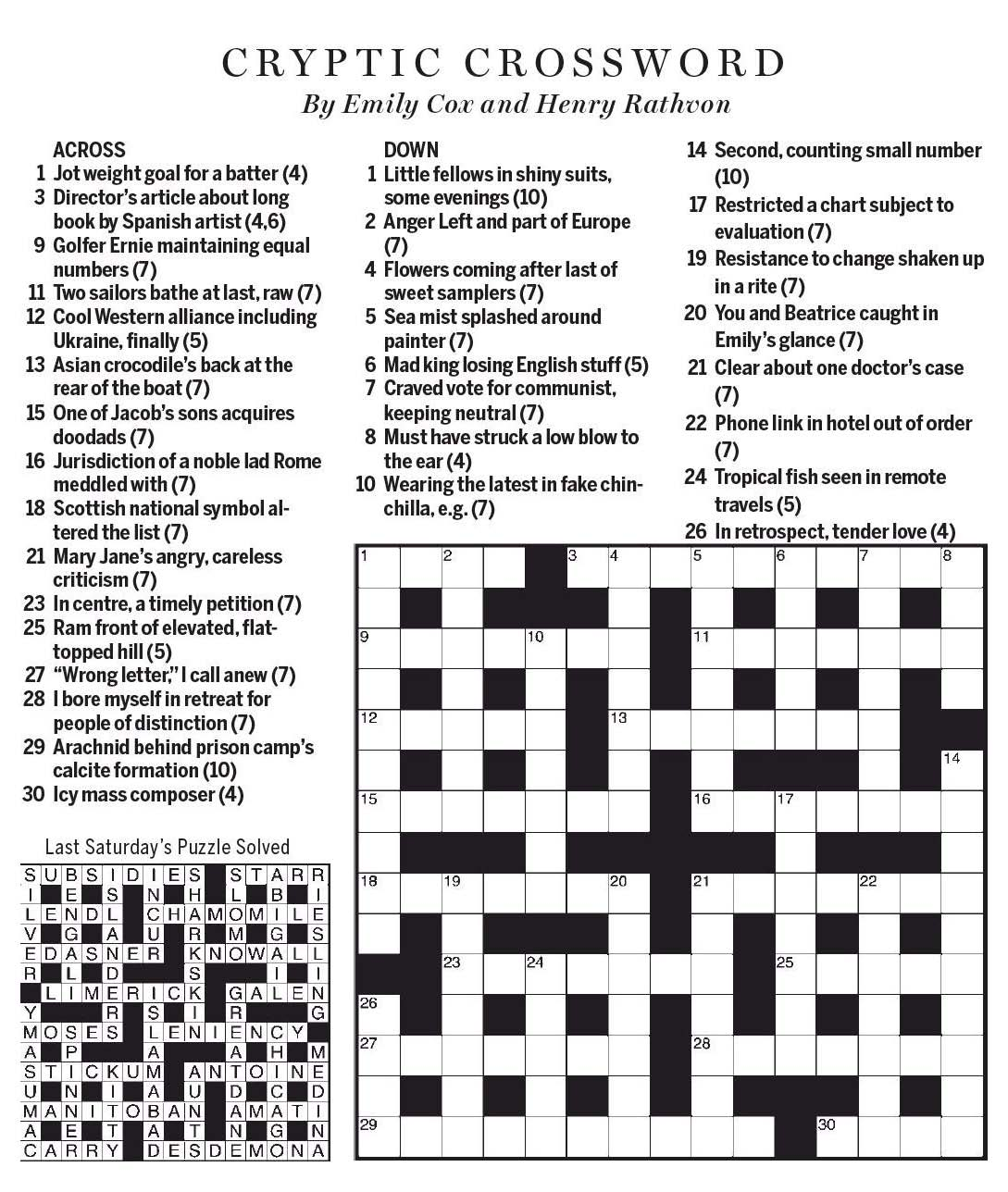National Post Cryptic Crossword Forum Saturday February 25 2017 Rear Ends