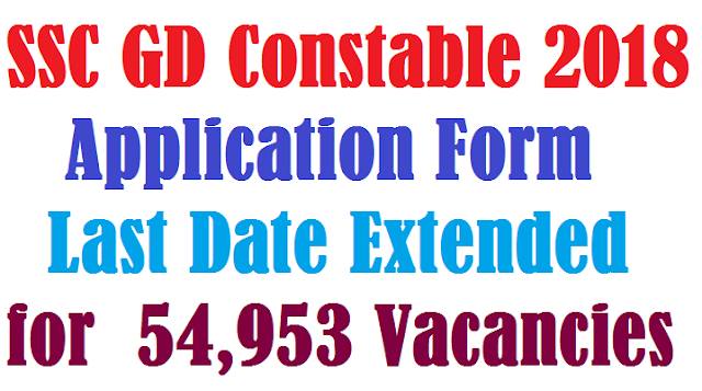 SSC GD Constable 2018 Application Form last date extended for 54,953 vacancies