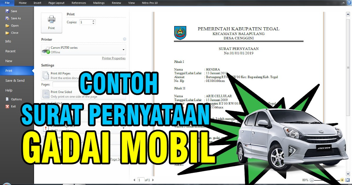 Contoh Surat Pernyataan Gadai Mobil Arie Cellular