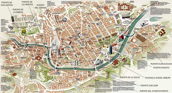 Plano de Bilbao y sus puentes. Bilbao, la ria y sus puentes