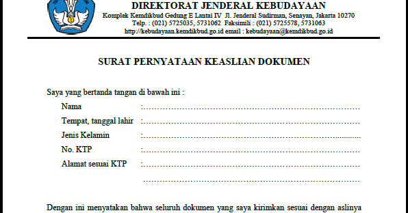 Contoh Surat Pernyataan Keaslian Dokumen - List Kerja
