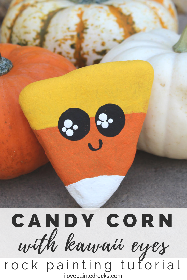 This is such a cute and easy Halloween rock painting idea! This cute candy corn painted rock is adorable. The video tutorial shows you how to make it and how to paint a cute kawaii style face. #ilovepaintedrocks #paintedrocks #rockpainting #rockart #halloweencrafts #halloween #pumpkin #tutorial #kawaii #kidscraft #candycorn #kidsart #fallcrafts
