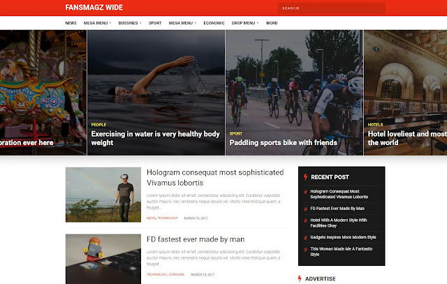 Fansmagz Responsive Magazine News Blogger Template Theme