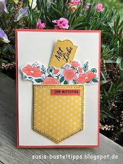interaktive Taschenkarte zum Muttertag mit Stampin' Up! Stempelset Definition  von Glück und Framelits Formen Tasche calypso, osterglocke, tannengrün, demonstratorin in coburg, stampin up produkte bestellen