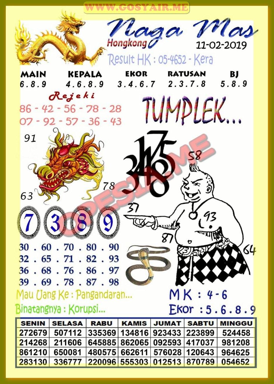 Syair HK Senin 11 Februari 2019 - GOsyair SEDIA KODE SYAIR SGP ADA