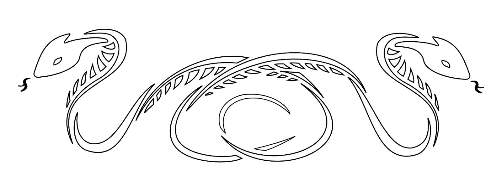 Snakes armband tattoo stencil