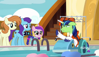 Shining Armor is airsick in the tiny boat
