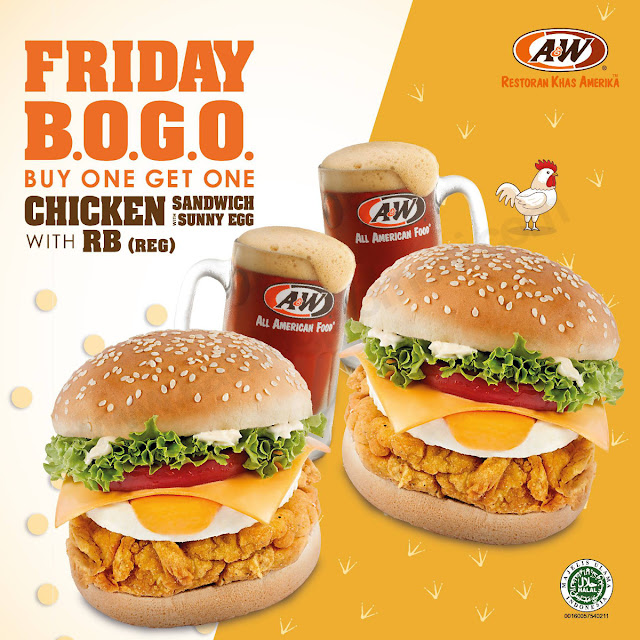 Promo A&W Restoran JUMAT SPECIAL! Buy One Get One FREE untuk Chicken Sandwich with Sunny Egg and RB