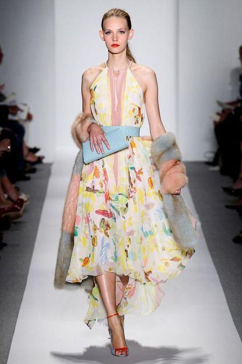 runway look: Dennis Basso floral dress S/S 2014