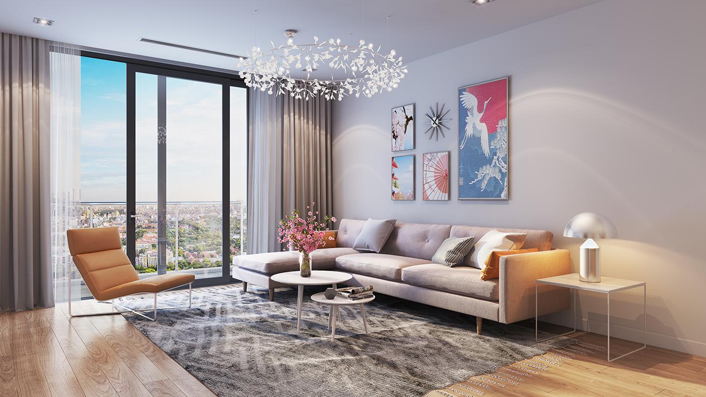 hình ảnh phòng khách căn hộ chung cư Hinode City Minh Khai