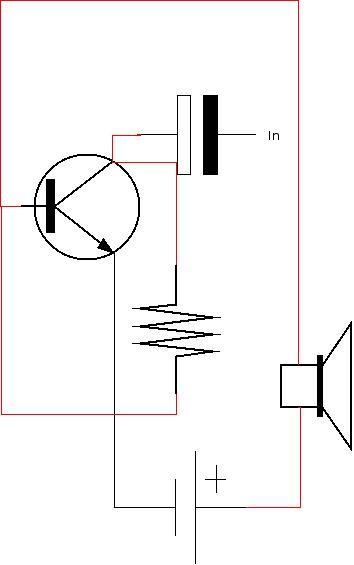 Esquema eletronico da montagem de amplificador de audio com um transistor