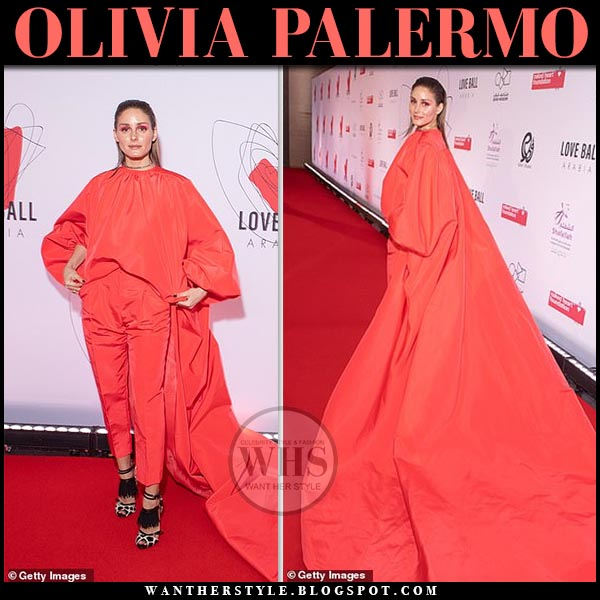 4601baf86433f5 Olivia Palermo in giambattista valli red jumpsuit with long train at Love  Arabia Ball. Red
