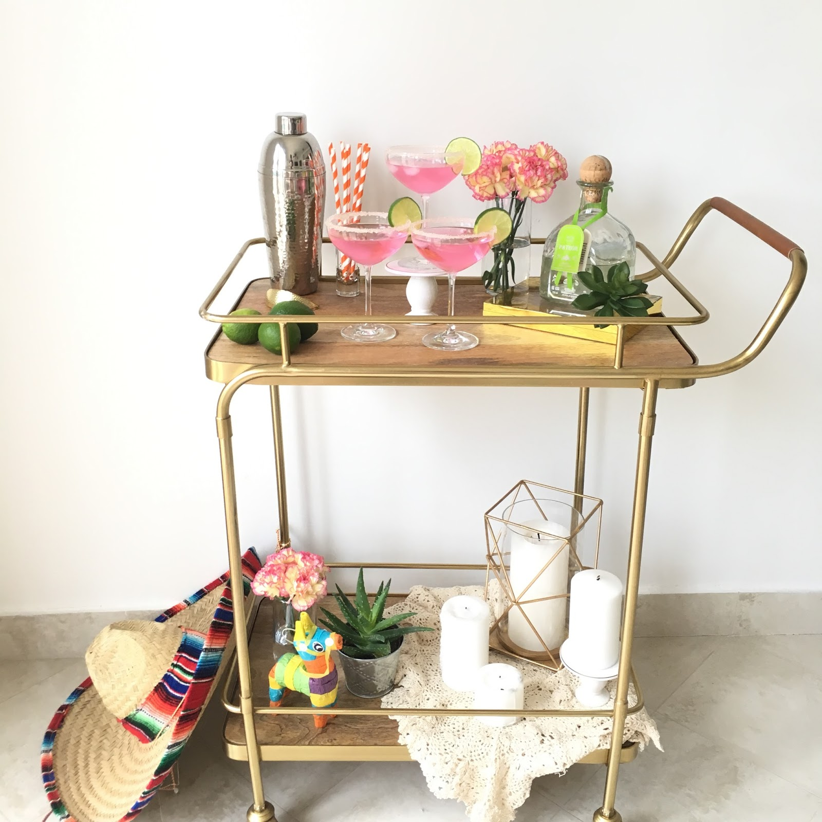 Cinco de Mayo Bar Cart featured by popular party planning blogger, The Celebration Stylist