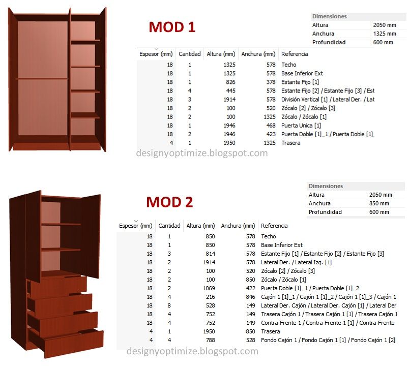 Dise o de muebles madera fabricaci n de closet 3 5 metros for Planos y diseno de muebles