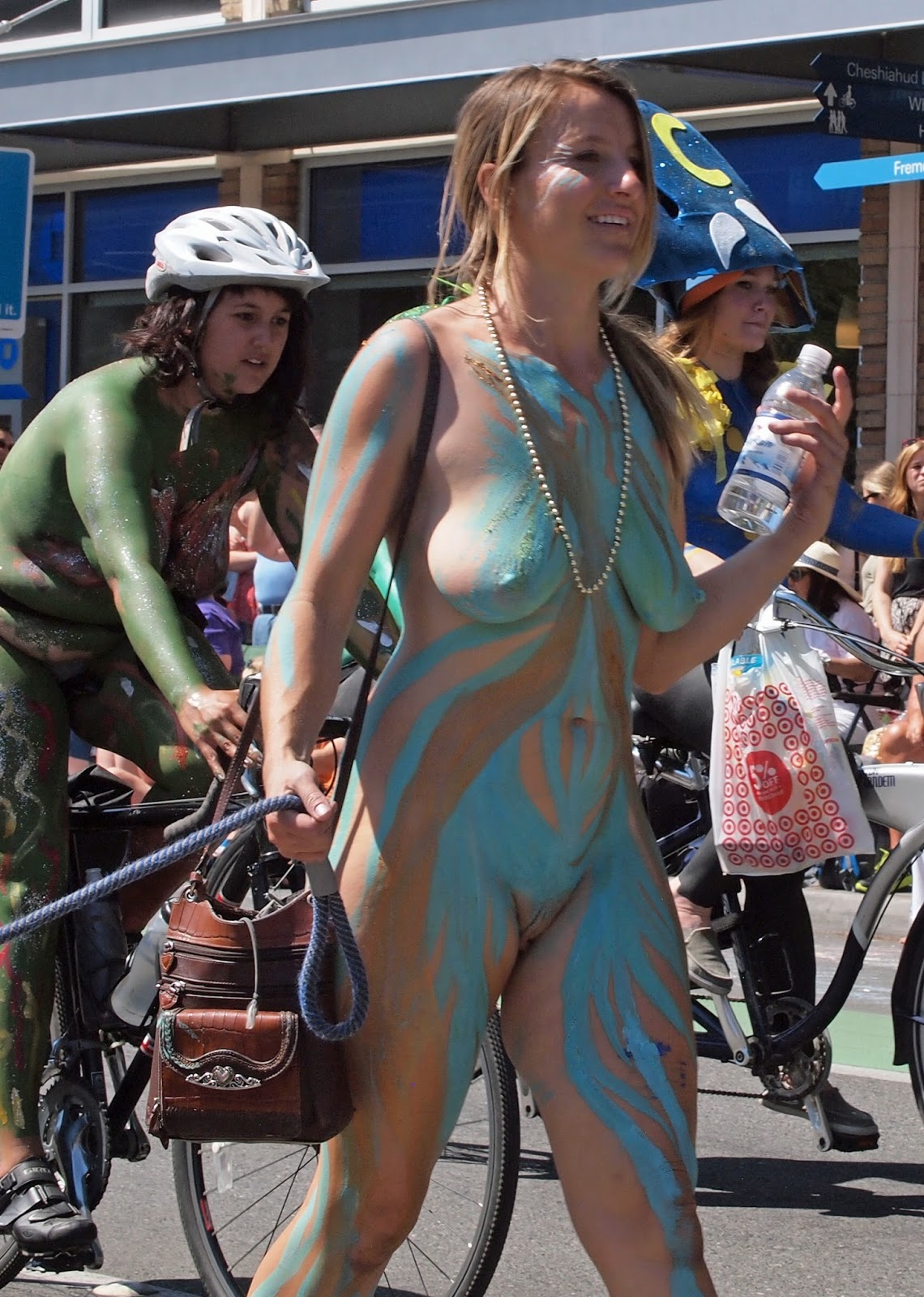 Nude women body paint public sorry, does
