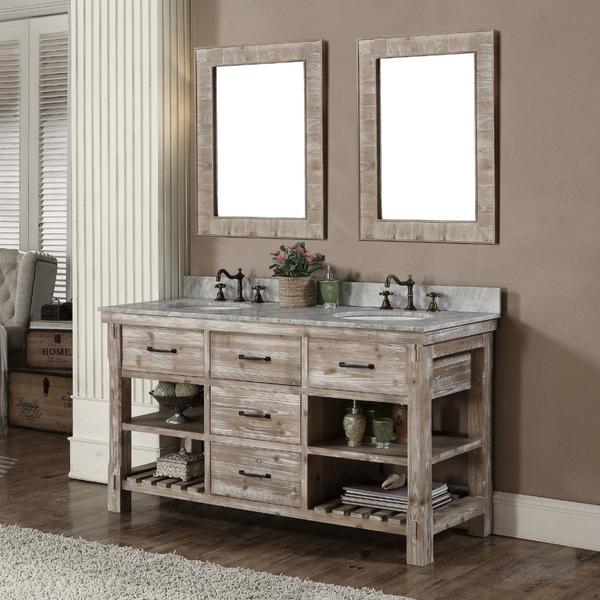 Lovely Accos 60 Inch Rustic Double Sink Bathroom Vanity Marble Top