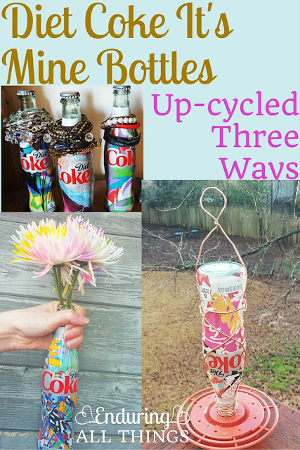 Diet Coke It's Mine Bottles Up-cycled Three Ways (with a complete hummingbird feeder tutorial) #ad #UniquelyMine | Enduring All Things