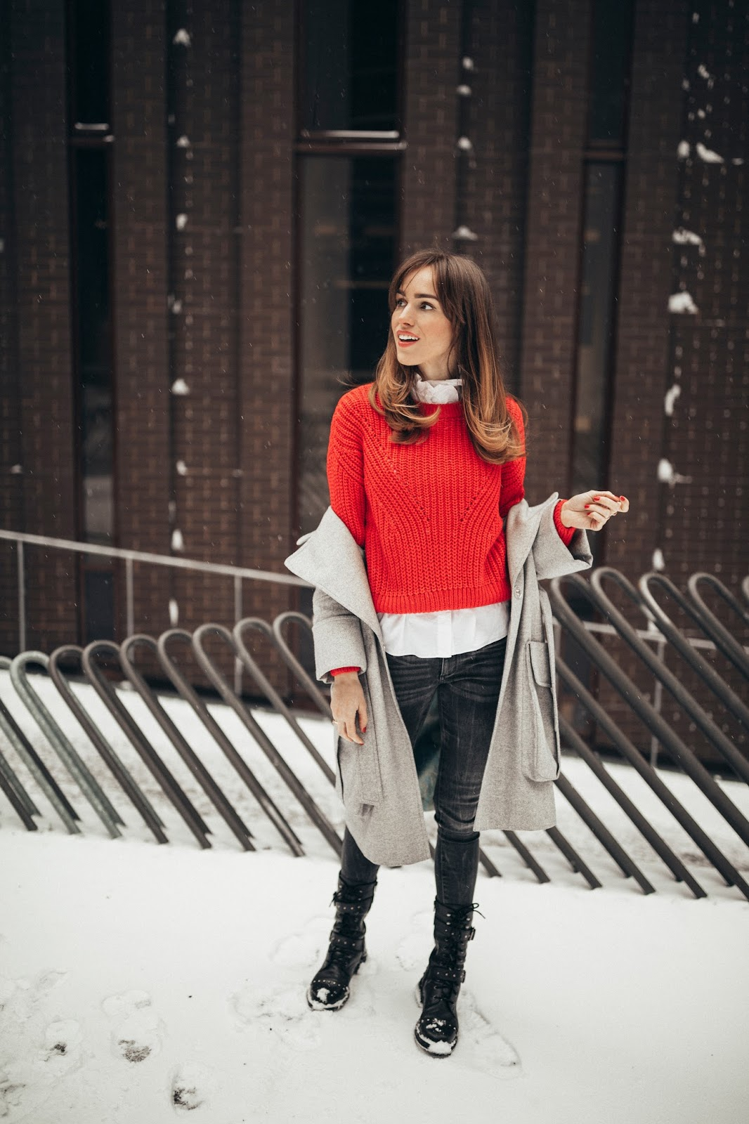 red jumper white shirt jeans combat boots outfit