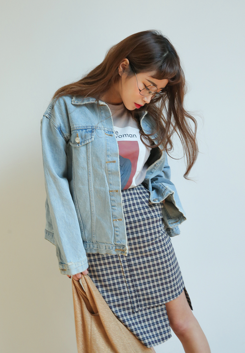 Faded Distressed Accent Denim Jacket