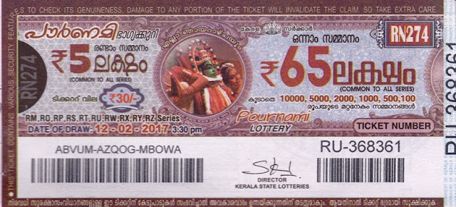 Kerala lottery result official copy of Pournami_RN-286