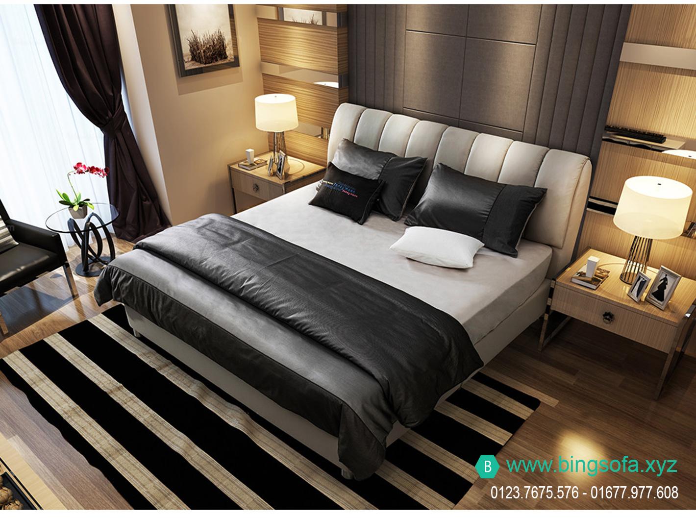 Giường ngủ bọc nỉ hiện đại