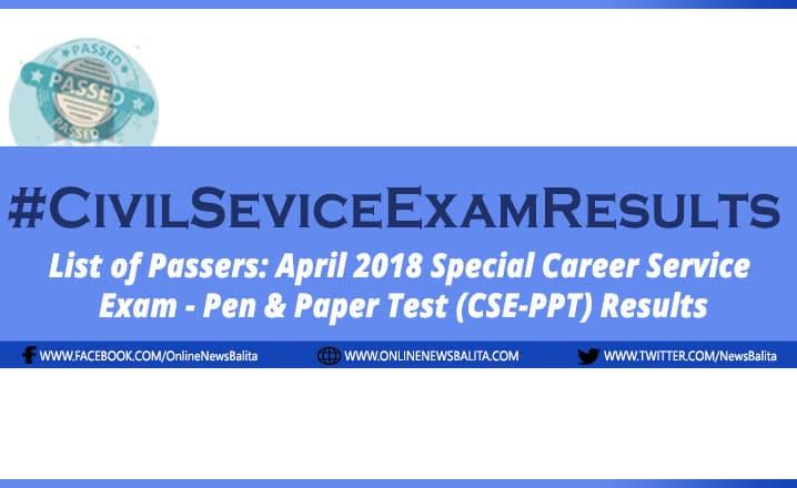 April 2018 Civil Service Exam Results CSE-PPT - NCR