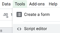 Screenshot of Google spreadsheets UI, Tools menu and Script editor option