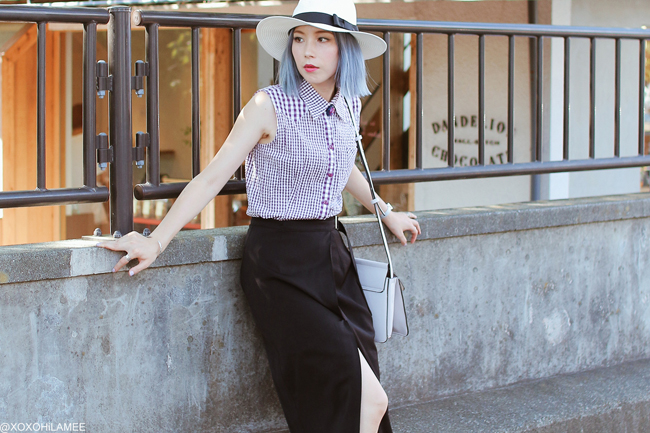 Japanese Fashion Blogger,MizuhoK,20180831OOTD, hand me down=purple gingham non sleeve shirt, CHOIES=black wrap skirt, Rakuten=white hat, black mules, Olivia Burton=bee watch, YoShop=shoulder bag, Kanaho Morisue=brooch