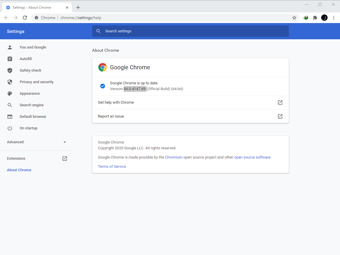Google Chrome Browser 84.0.4147.89