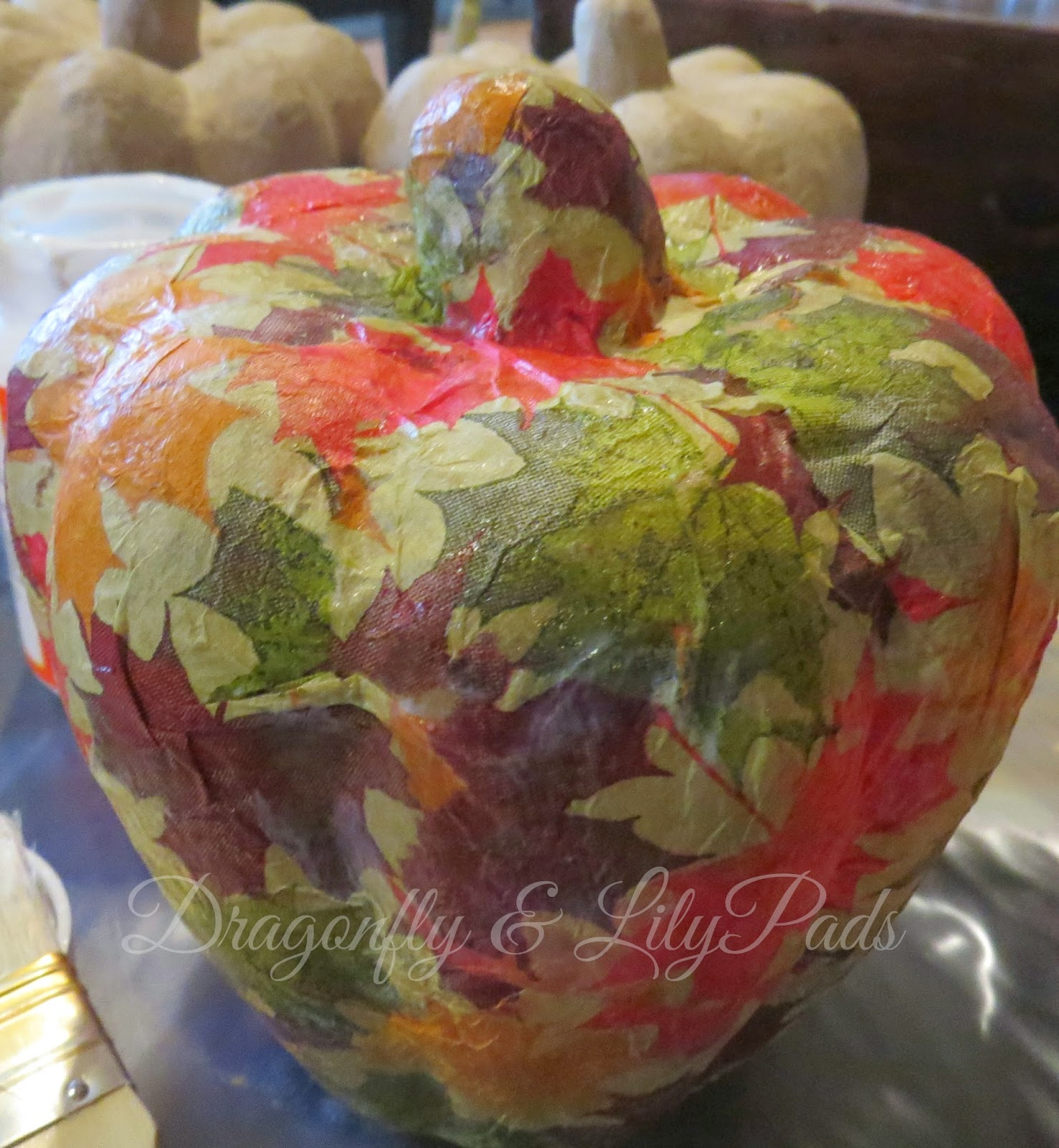 Fall Leaves Pumpkin, Decor, Decoration, Leaves, Mod Podge, Pumpkin