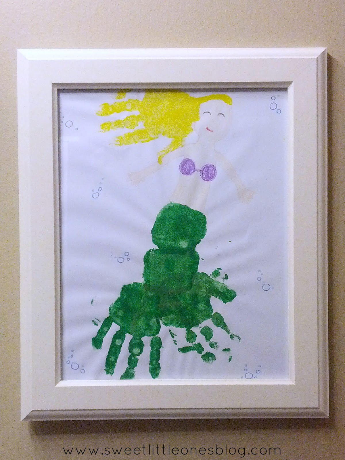 DIY Mermaid Handprint Art - www.sweetlittleonesblog.com