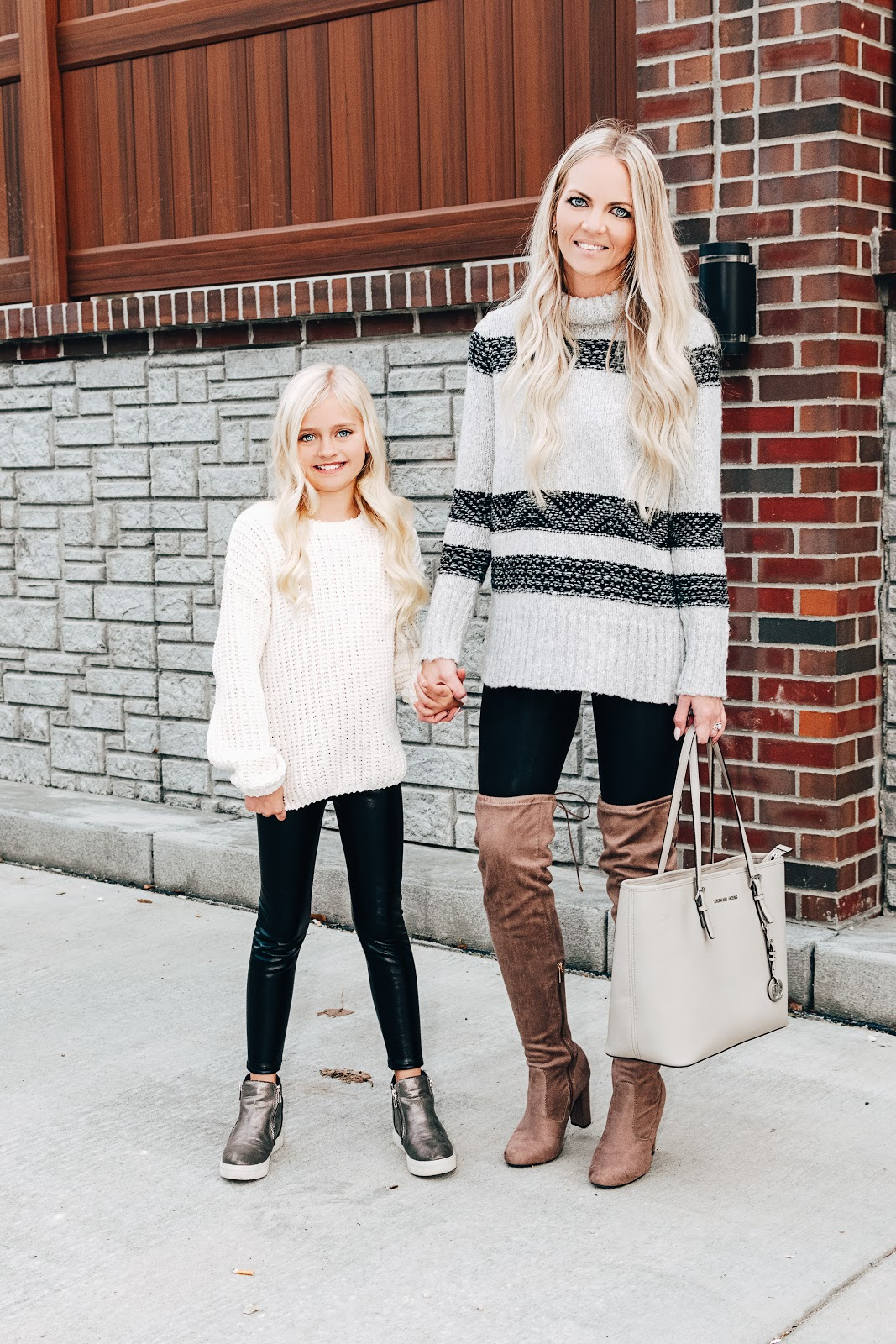 Holiday Looks for You and Your Mini! Christmas Outfit Ideas Blogger Style Skirt Sweater Trendy Event New Years Free People Chunky Knit Sweater