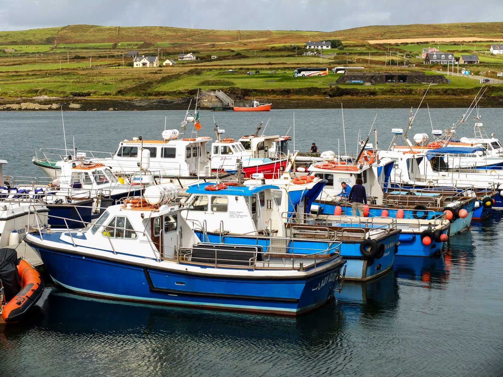 Boats docked along a pier in Portmagee, Co.Kerry.