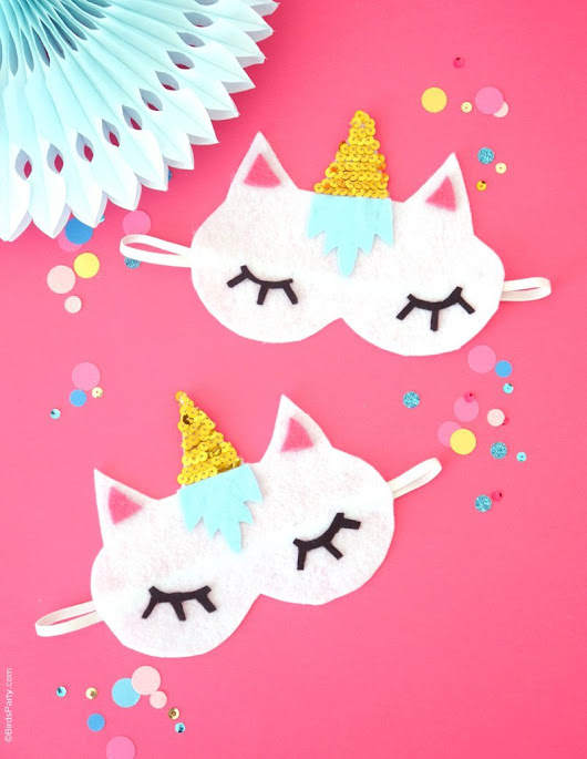 No-Sew DIY Unicorn Sleeping Masks with Free Template | Party Ideas | Party Printables