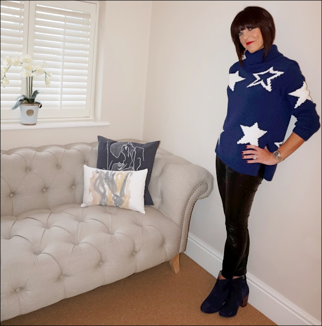 My Midlife Fashion, Marks and spencer star print polo neck jumper, french connection faux leather trousers, boden boho ankle boots