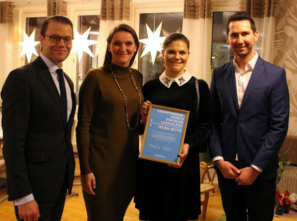 Crown Princess Victoria wore ASOS Maternity Shift Dress in Velvet with Embellished Collar, Valentino Small chain shoulder bag