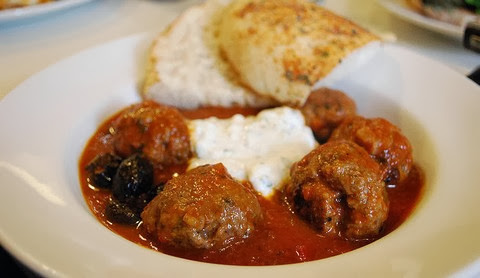 Greek Meatballs with Turkish Bread and Mint Yoghurt
