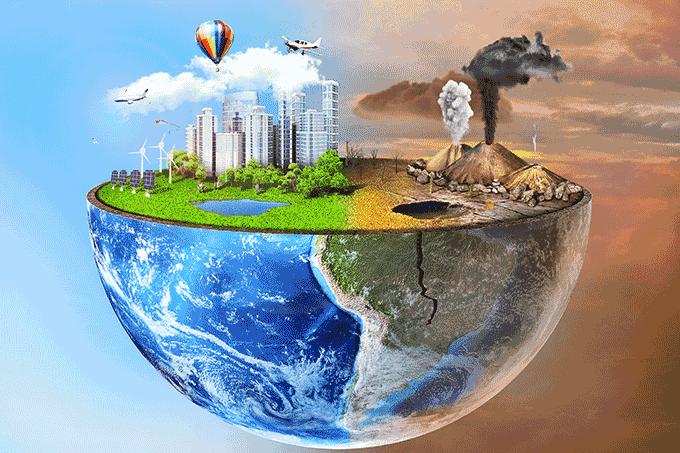 Mistura de globo e terra plana